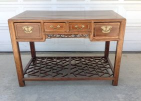 Antique Chinese Hardwood Desk with Four Drawers