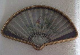 Antique French Mother-Pearl with Hand Painted Fan