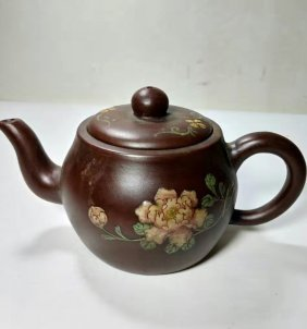 Chinese Yixing Zisha Teapot with Hand Painting
