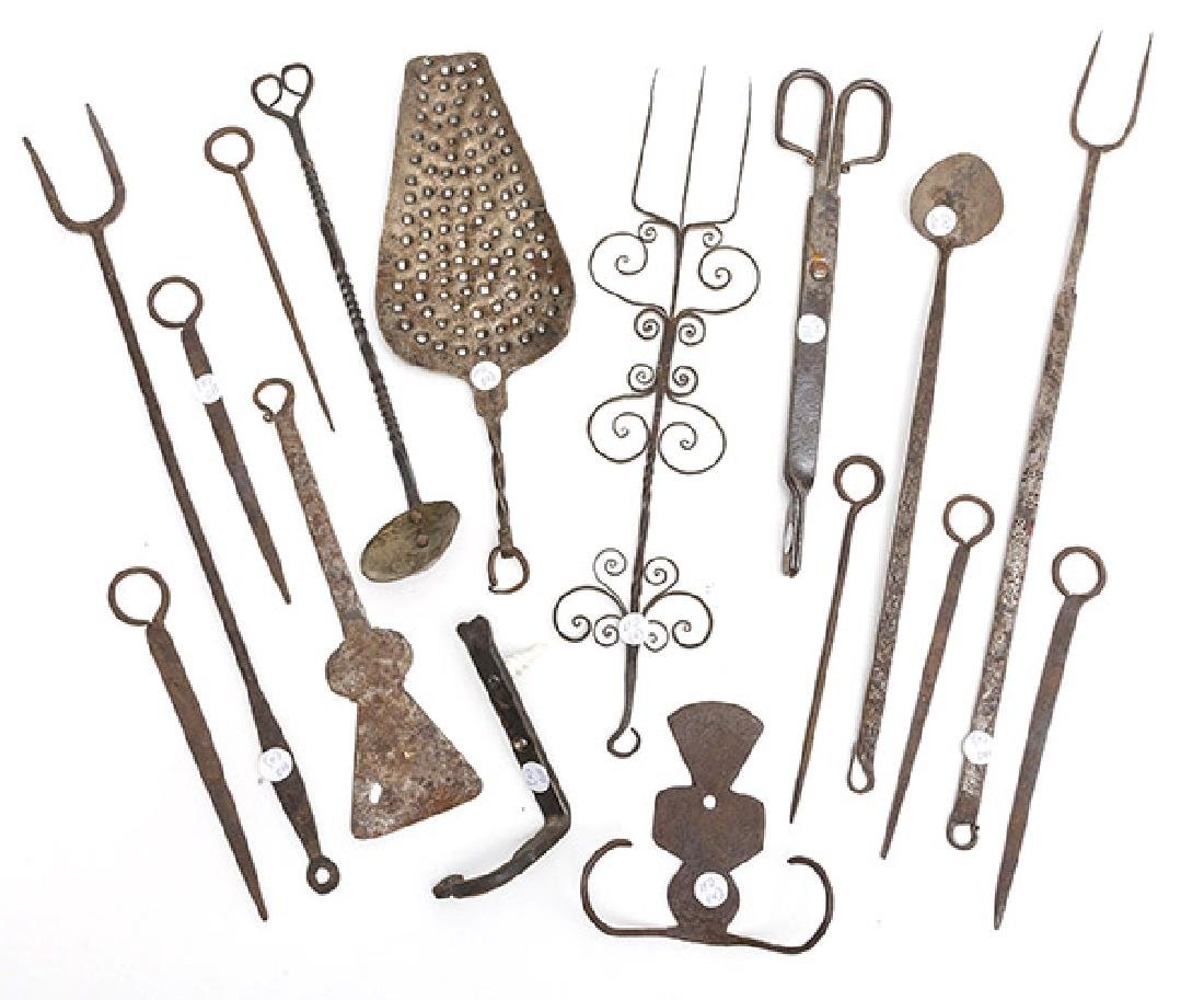Huge Lot of Wrought Iron Kitchen Tools