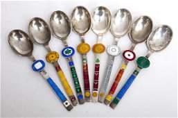 Paul Gauguin Enameled Sterling Danish Spoons