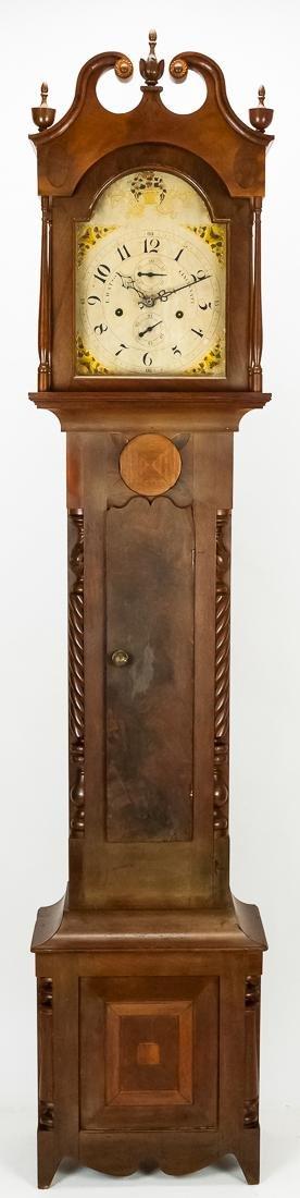 Luman Watson Carved & Inlaid Tall Case Clock