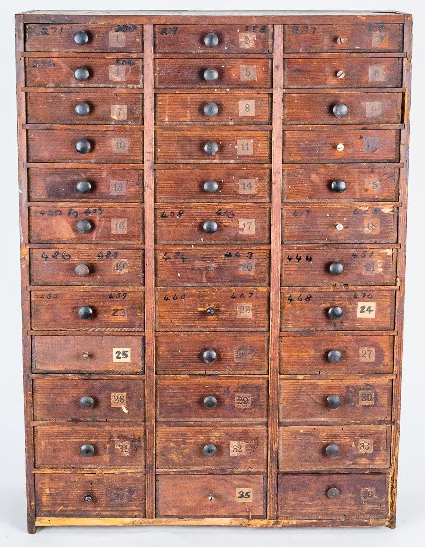 Early Pine Watch Parts Cabinet