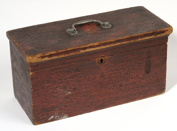 1: EARLY PAINT DECORATED DOVETAILED BOX