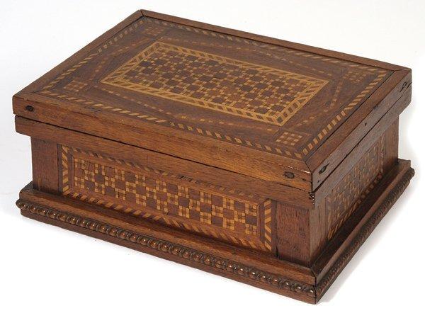 7: EARLY WALNUT INLAID BOX