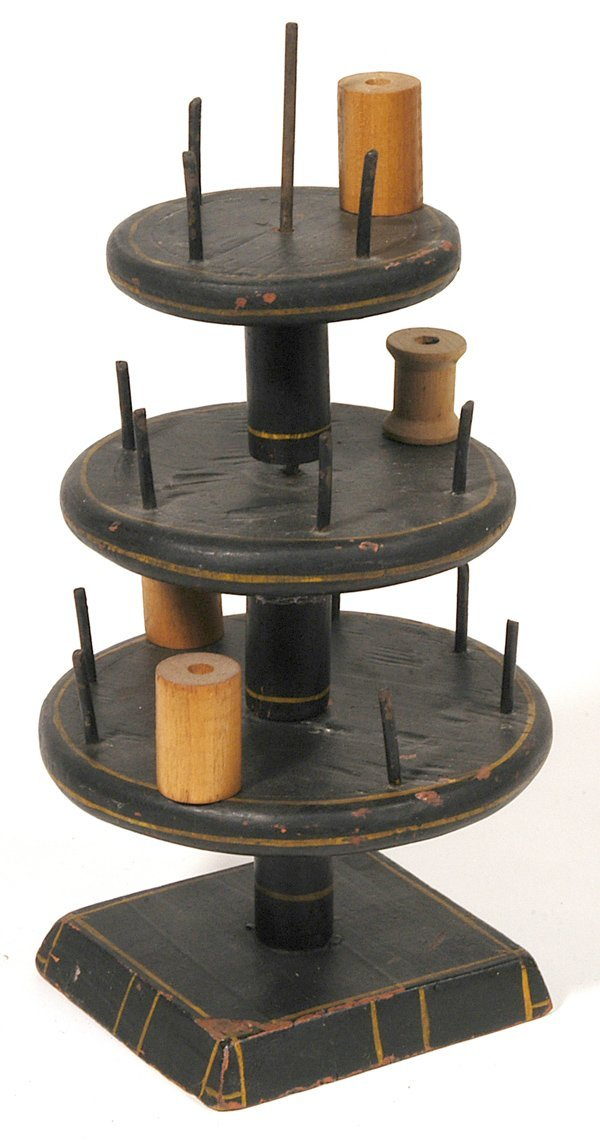11: EARLY WOODEN SEWING SPOOL HOLDER