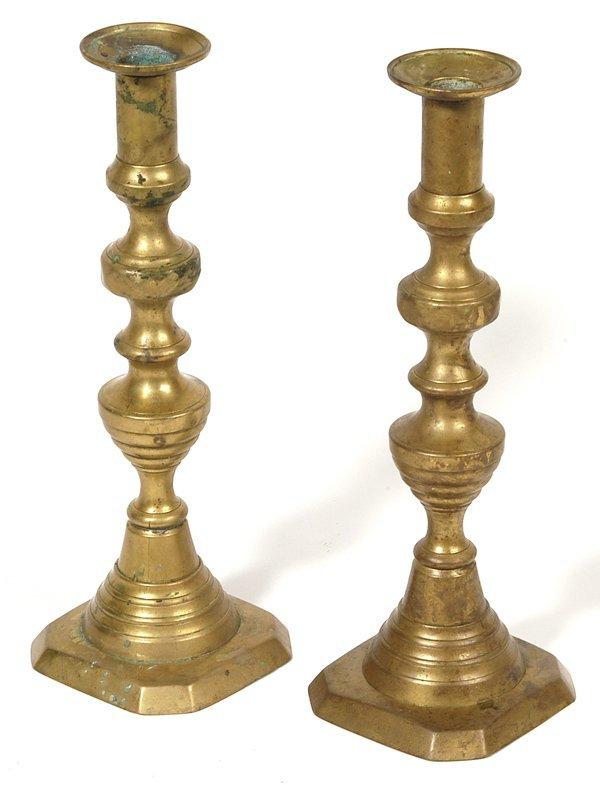 13: PAIR OF EARLY PUSH-UP BRASS CANDLESTICKS