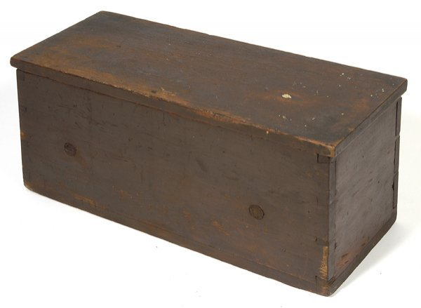 15: EARLY DOVETAILED BOX WITH OLD BROWN PAINT