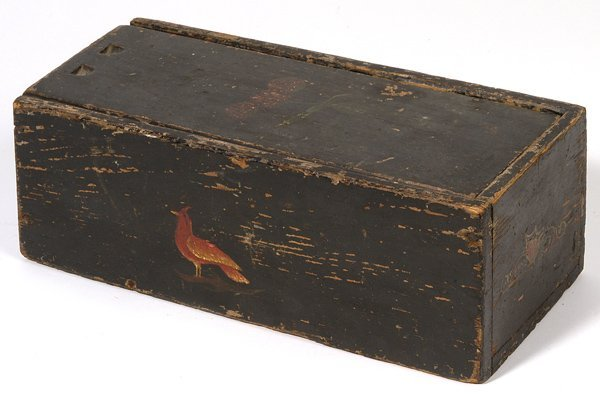 18: EARLY PAINT DECORATED CANDLE BOX WITH BIRD