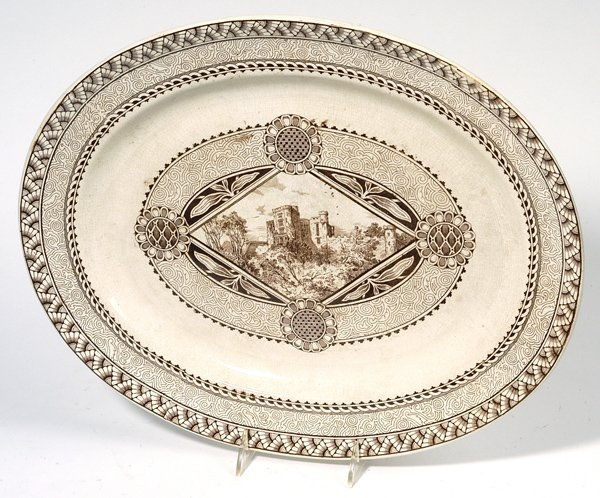 22: EARLY IRONSTONE BROWN AND WHITE TRANSFER PLATTER