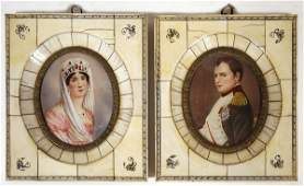 74 SIGNED MINIATURE PAINTINGS ON IVORY OF NAPOLEON AND