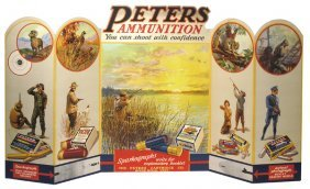 1920's PETERS AMMUNITION WINDOW DISPLAY SIGN WITH O