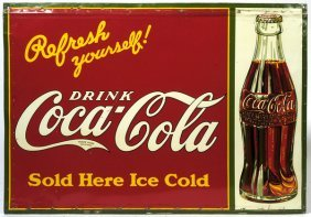 CA. 1930 COCA-COLA TIN SIGN WITH BOTTLE