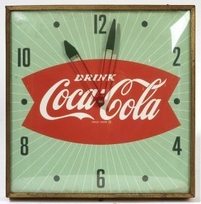 1960'S COCA-COLA FISHTAIL CLOCK BY PAM