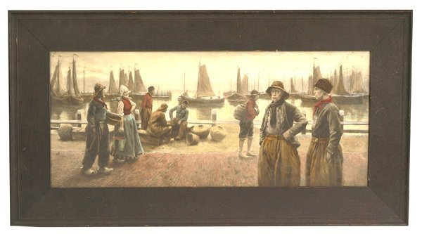 304: HENRI HOUBEN HAND COLORED DUTCH SCENE LITHOGRAPH
