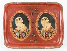 Folk Art Painted Tole Tray