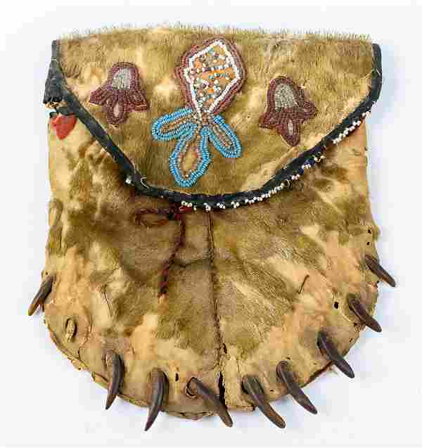 Anishinaabe Beaded Pouch from Wolverine Fur