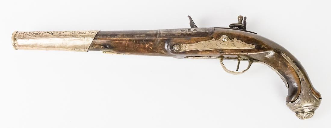 Silver Mounted Flintlock Pistol
