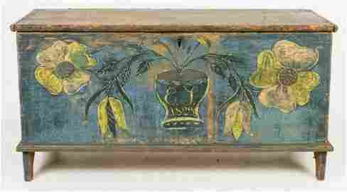 1823 Blue Decorated Blanket Chest