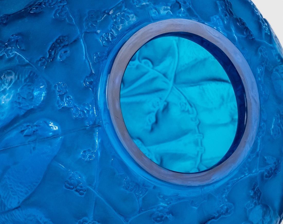 "R. Lalique Electric Blue Glass ""Perruches"" Vase - 10"