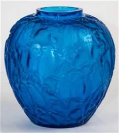 "R. Lalique Electric Blue Glass ""Perruches"" Vase"