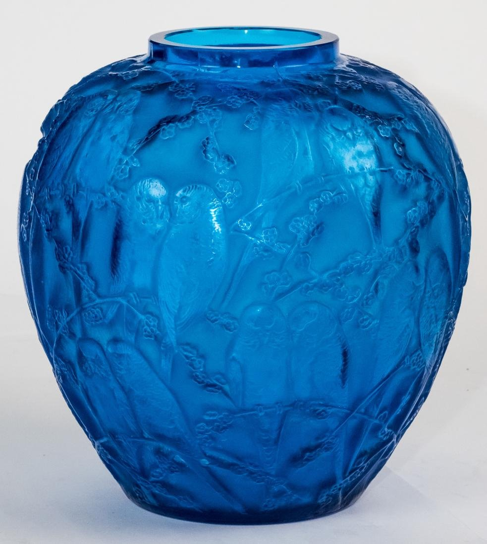 "R. Lalique Electric Blue Glass ""Perruches"" Vase"