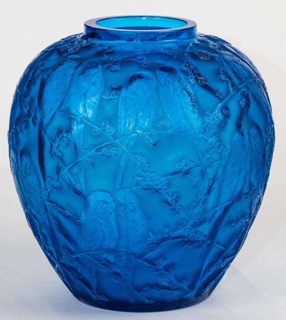 "R. Lalique Electric Blue Glass ""Perruches"" Vase - 2"
