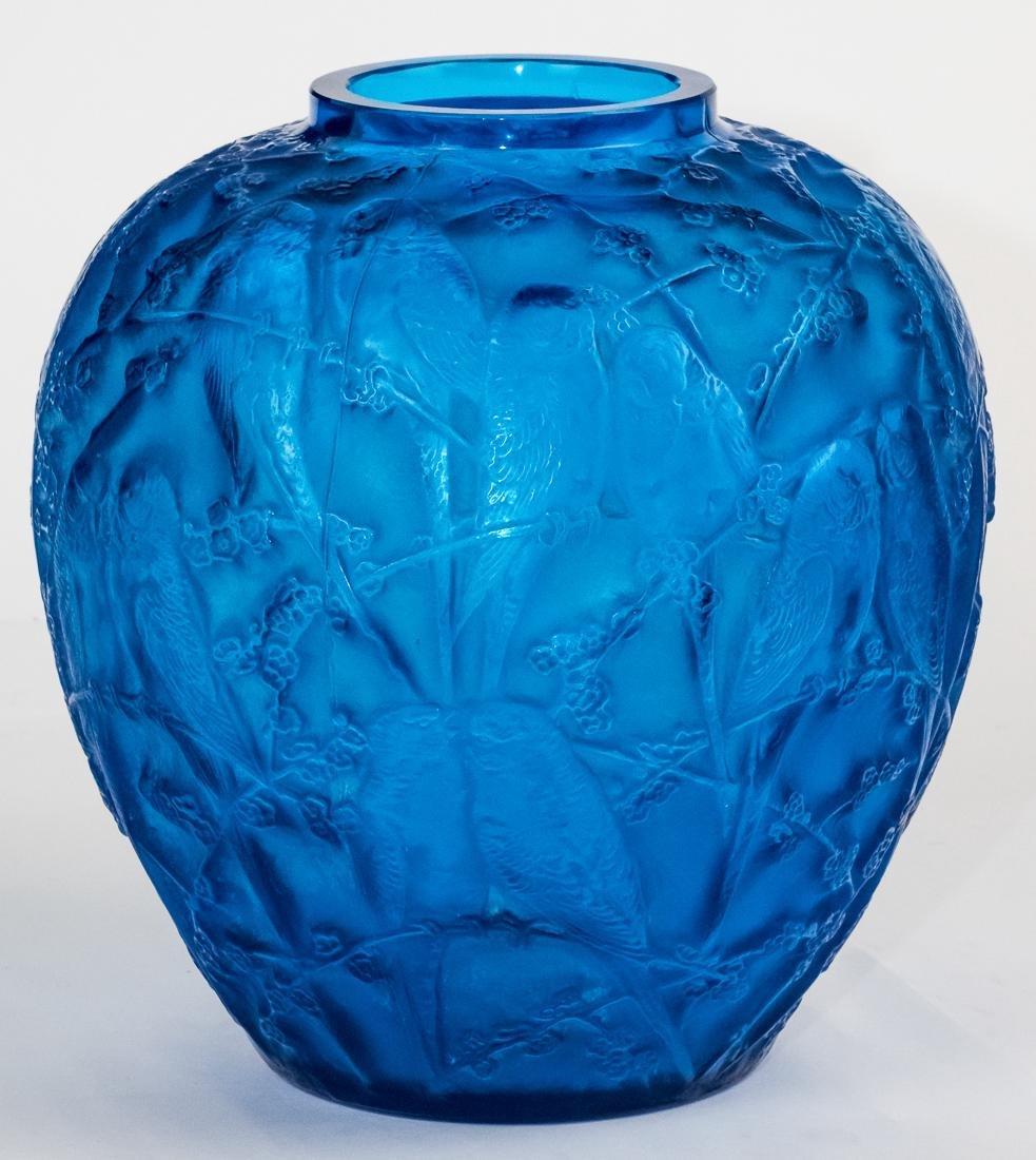 "R. Lalique Electric Blue Glass ""Perruches"" Vase - 3"