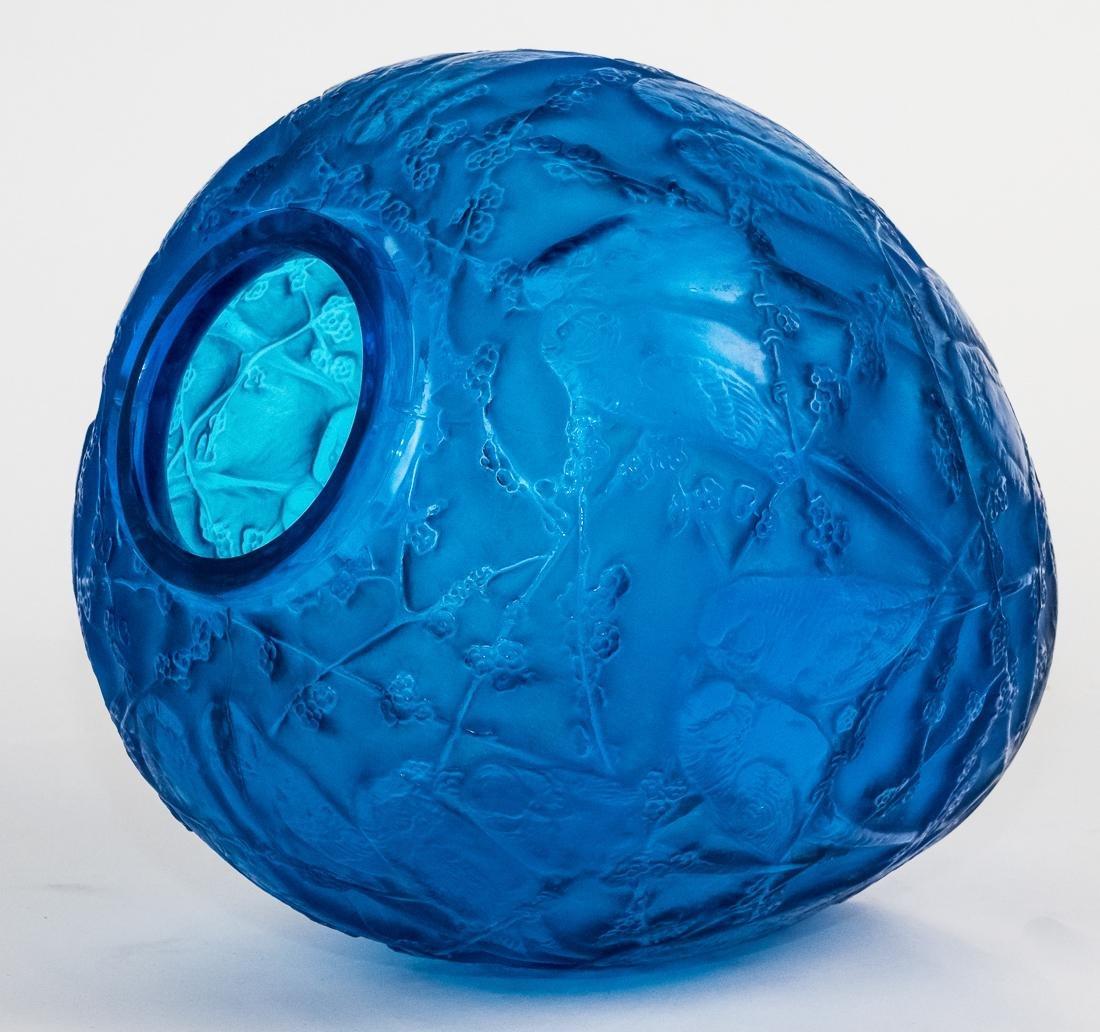 "R. Lalique Electric Blue Glass ""Perruches"" Vase - 4"