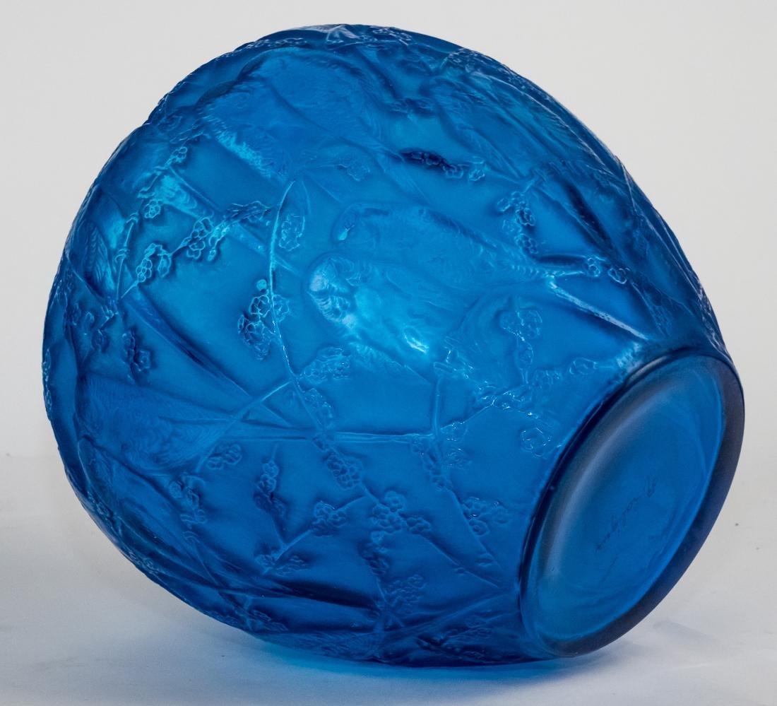 "R. Lalique Electric Blue Glass ""Perruches"" Vase - 5"