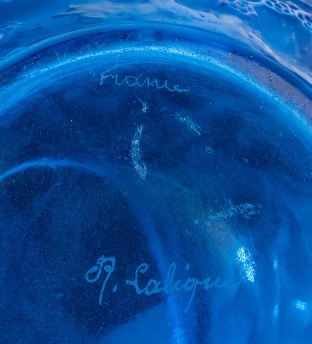 "R. Lalique Electric Blue Glass ""Perruches"" Vase - 6"