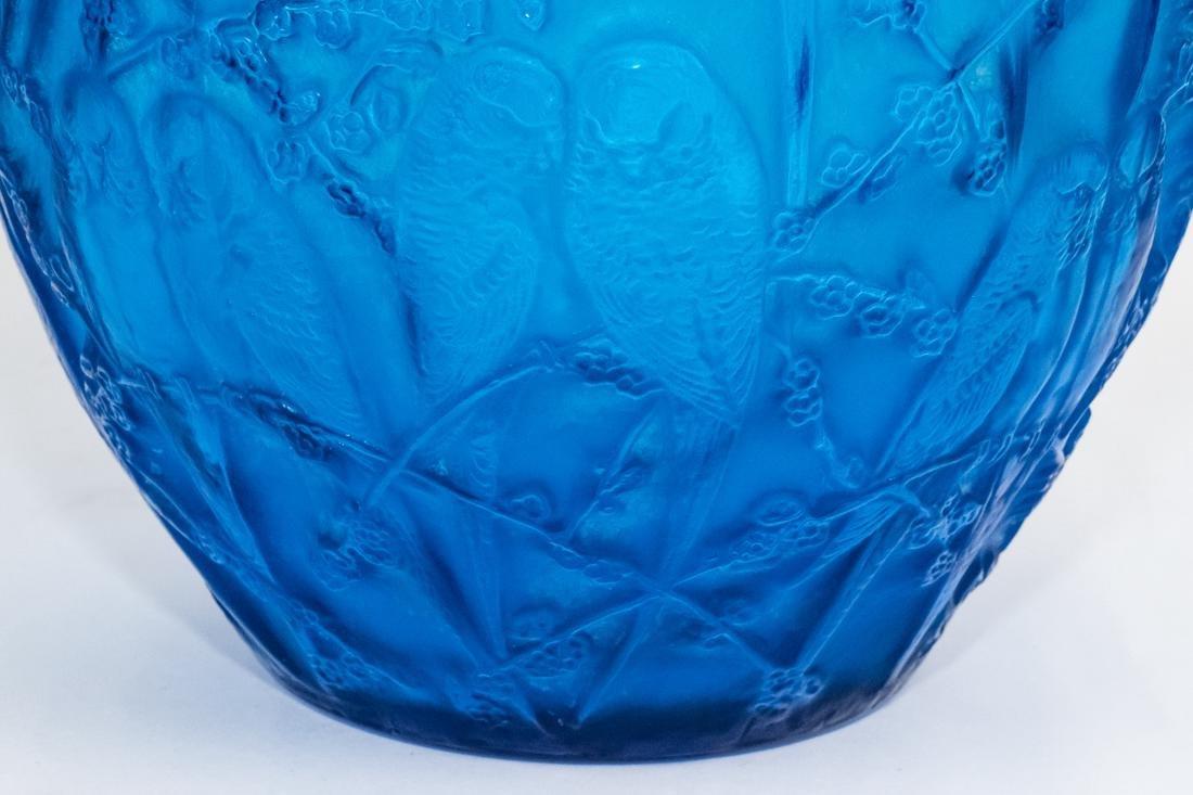 "R. Lalique Electric Blue Glass ""Perruches"" Vase - 8"