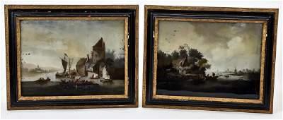 Pair Dutch Landscape Paintings