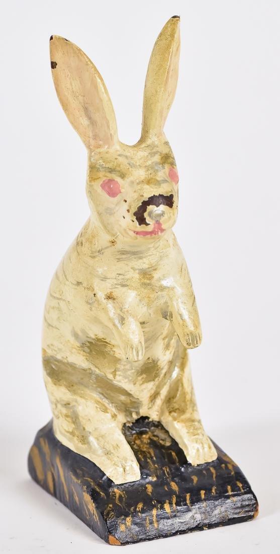 American Folk Art Carved & Painted Rabbit
