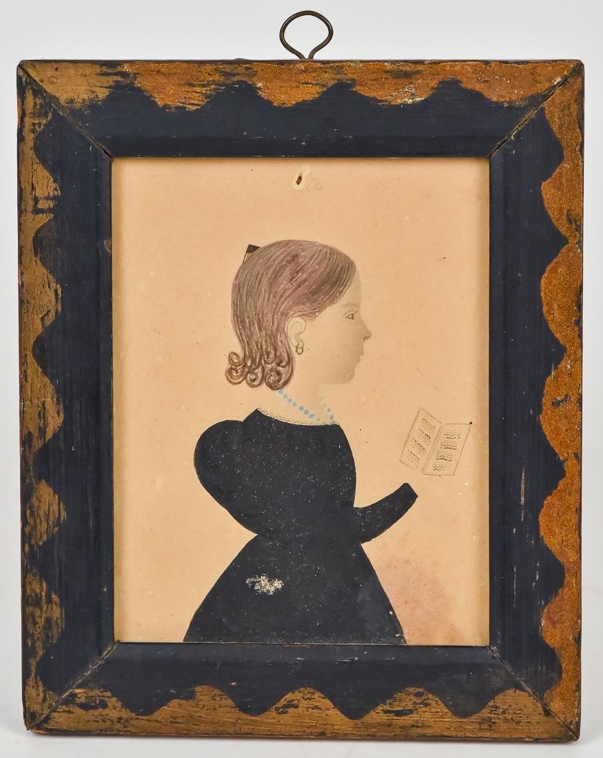 Folk Art Miniature Watercolor of Girl with Sheet Music