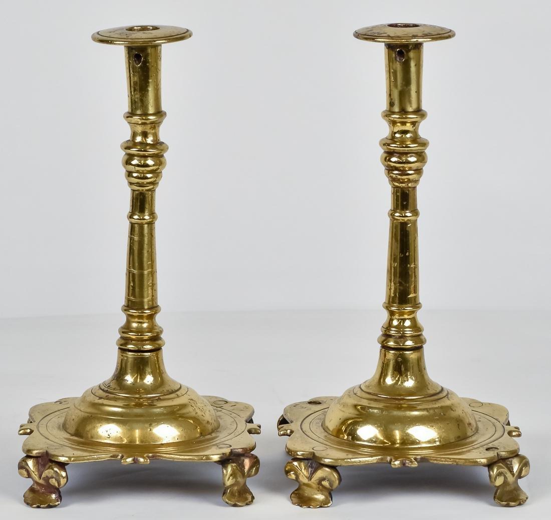 Massive 18th Century Brass Candlesticks