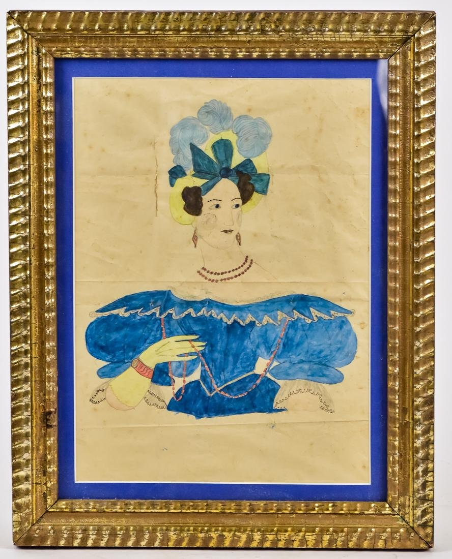 Early American Folk Art Portrait of Lady
