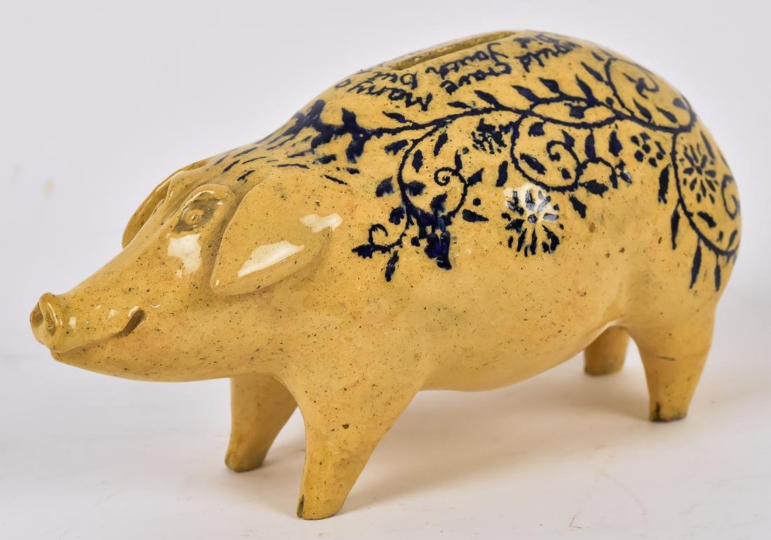 Folk Art Blue Decorated Yellowware Pig