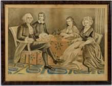 Large Pencil Drawing of Washington & Family