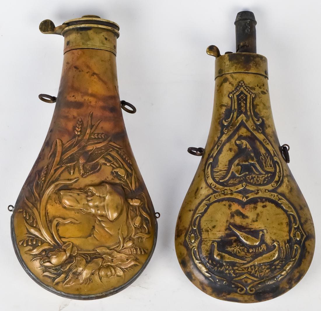 Two Hunting Dog Shot Flasks