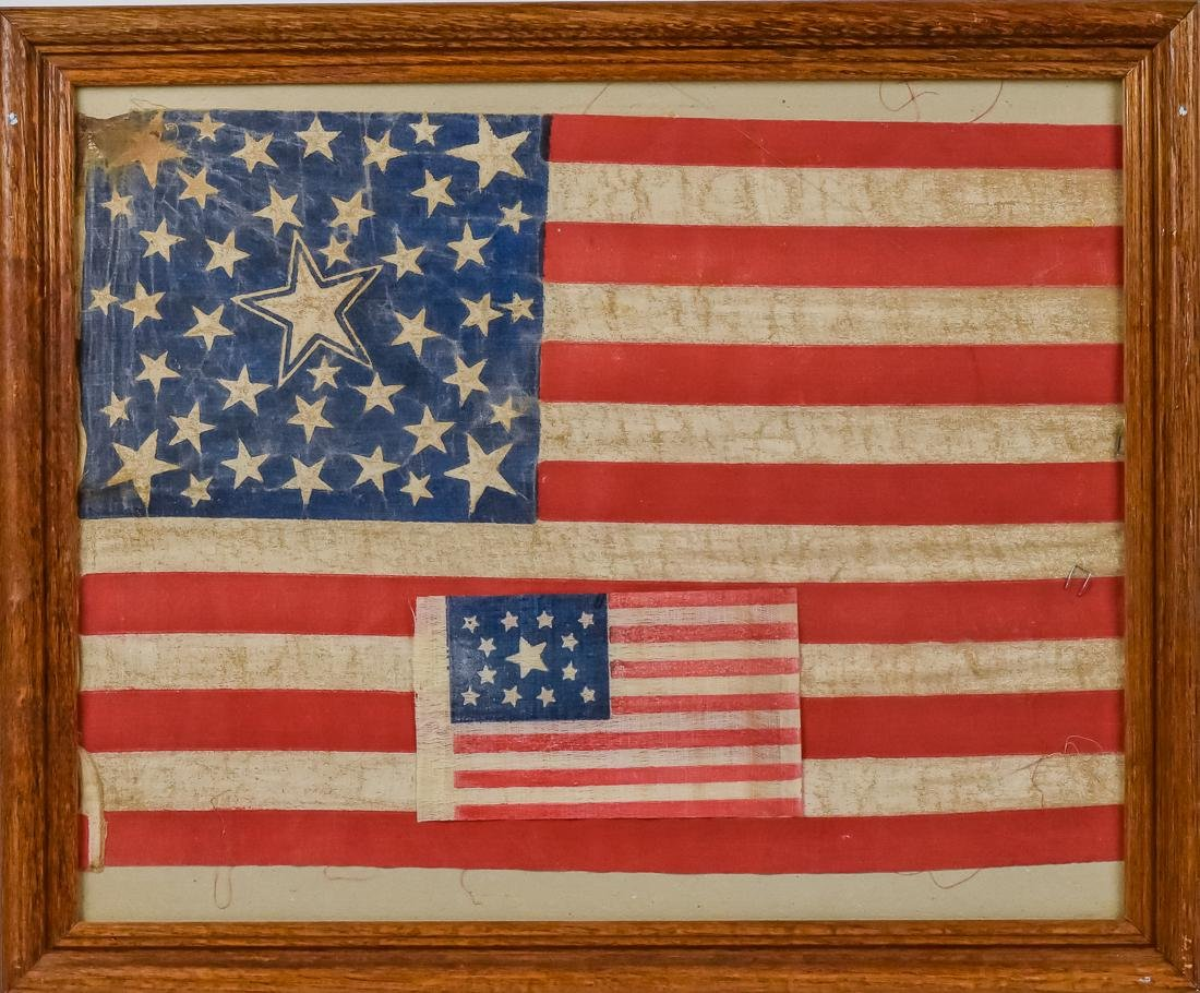 Two Early U.S. Parade Flags