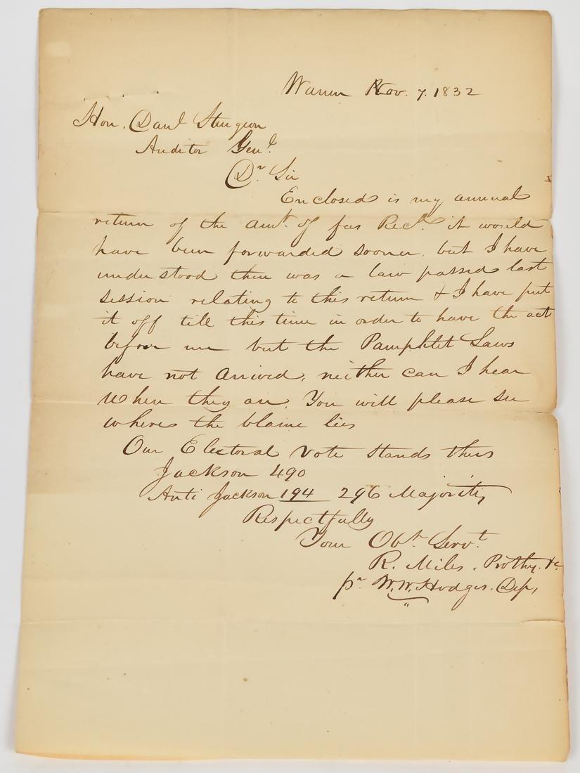 1832 Penn. Letter Dealing with 1832 Presidential
