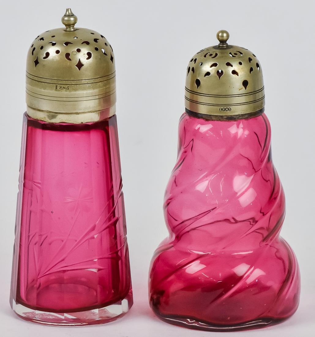 Two Victorian Art Glass Sugar Shakers