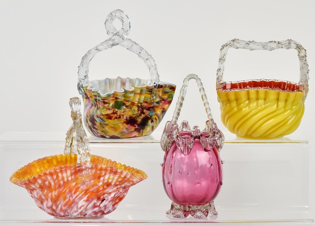 Four Victorian Art Glass Baskets