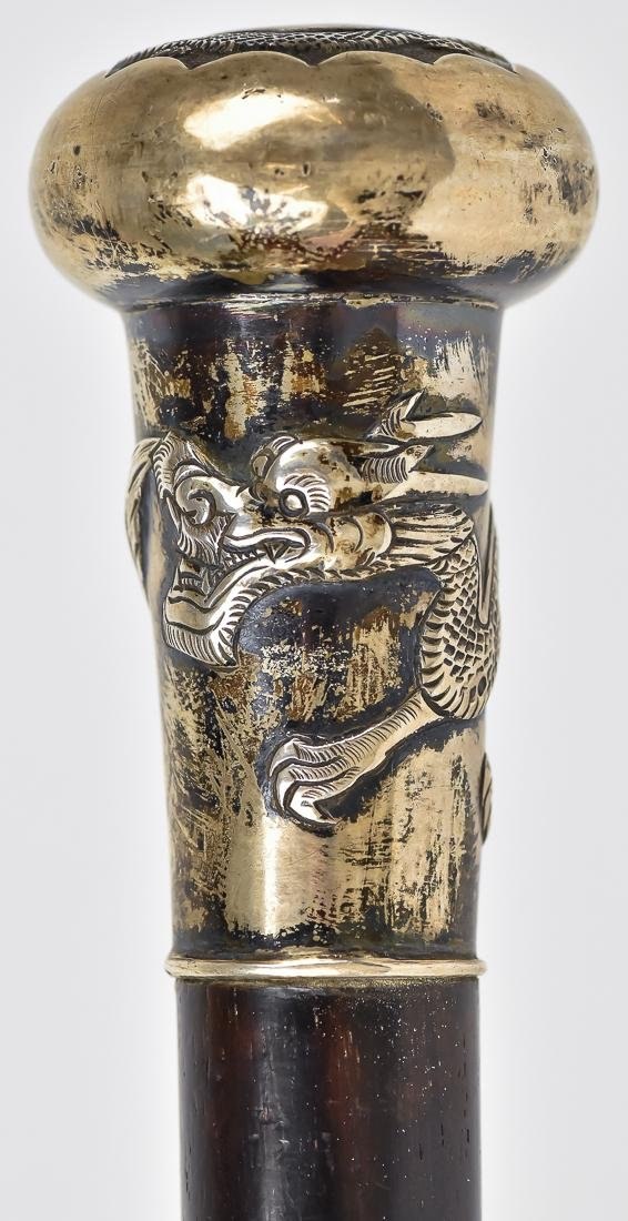 Chinese Silver Knobbed Cane - 4