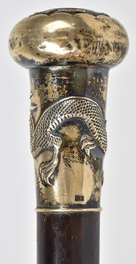 Chinese Silver Knobbed Cane - 6