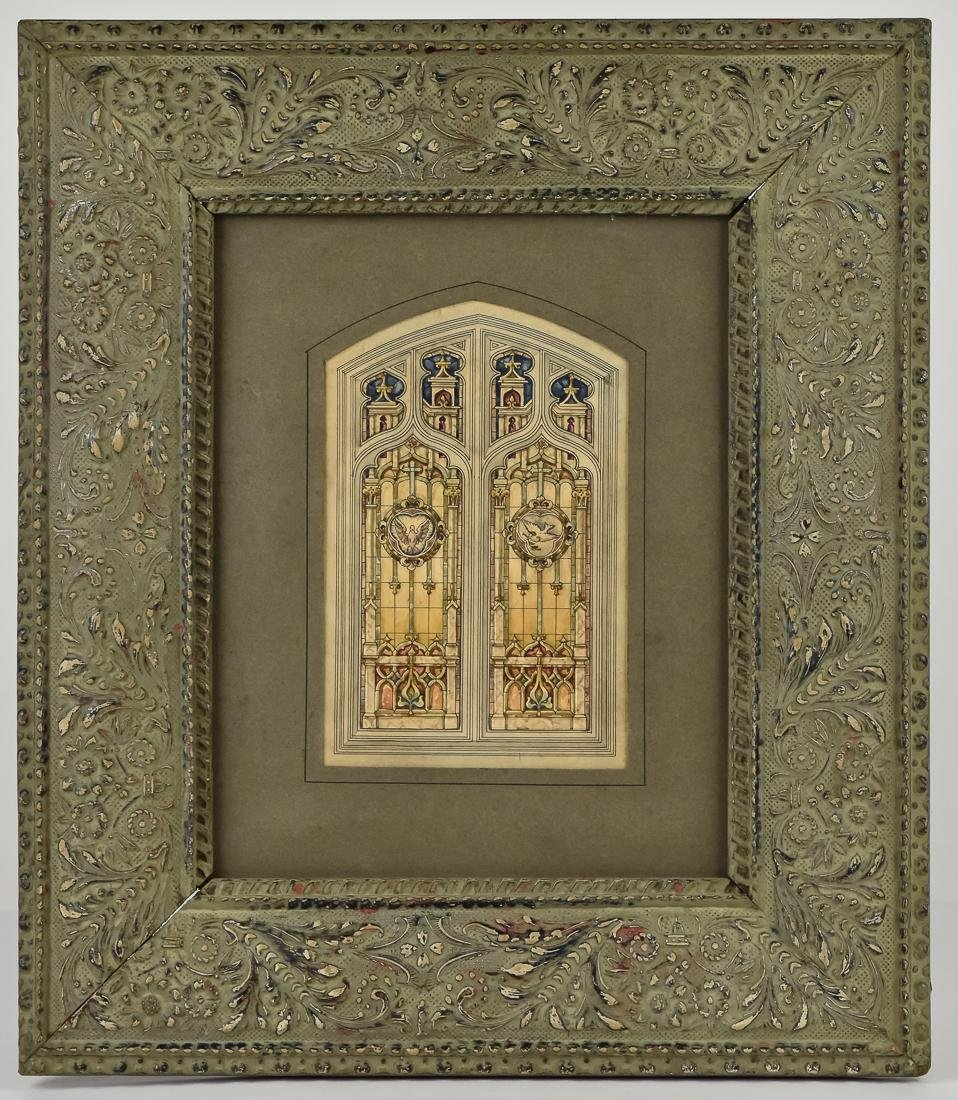 Fine Watercolor of Stained Glass Window