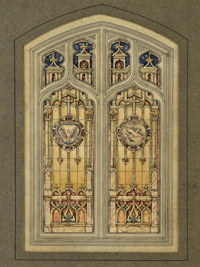 Fine Watercolor of Stained Glass Window - 2