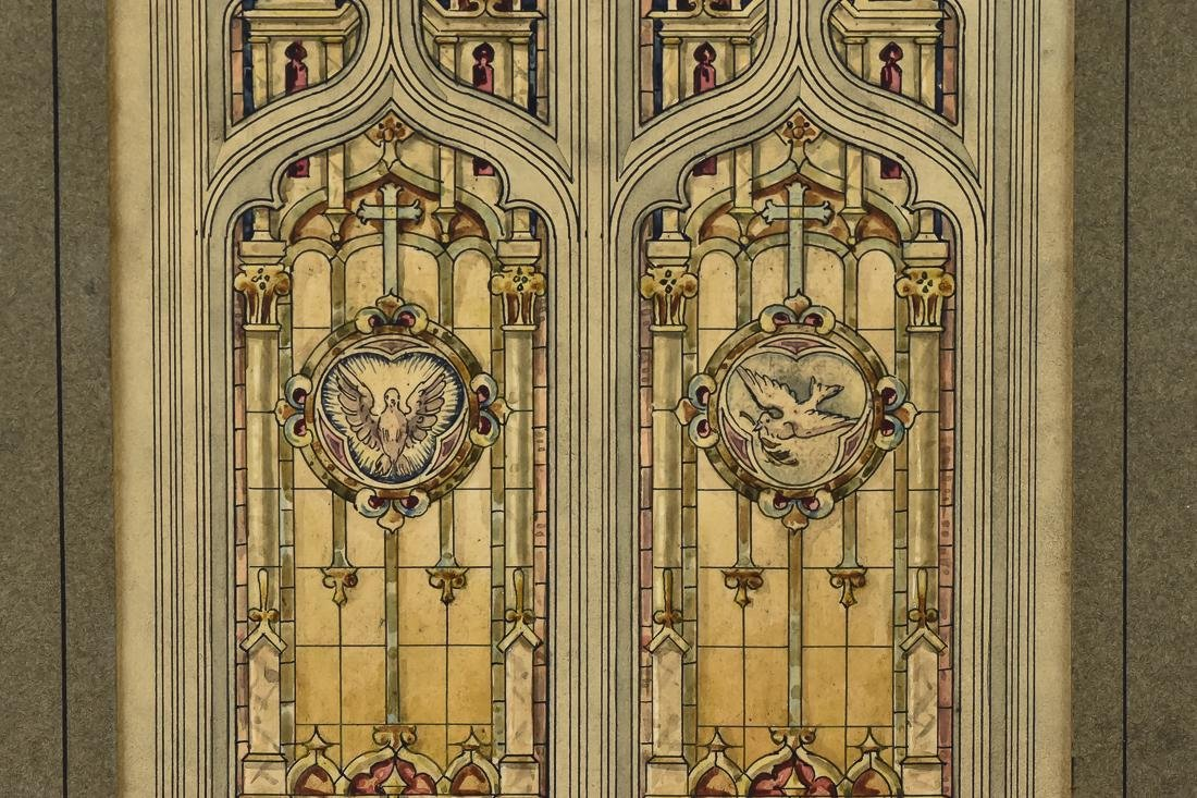 Fine Watercolor of Stained Glass Window - 4