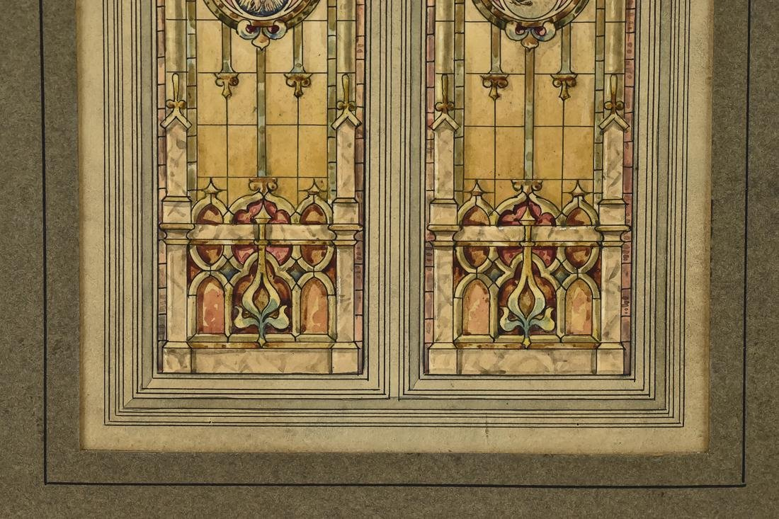Fine Watercolor of Stained Glass Window - 5